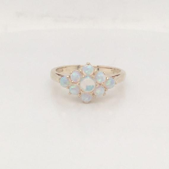 Vintage opal cluster ring, gold opal ring, opal cl