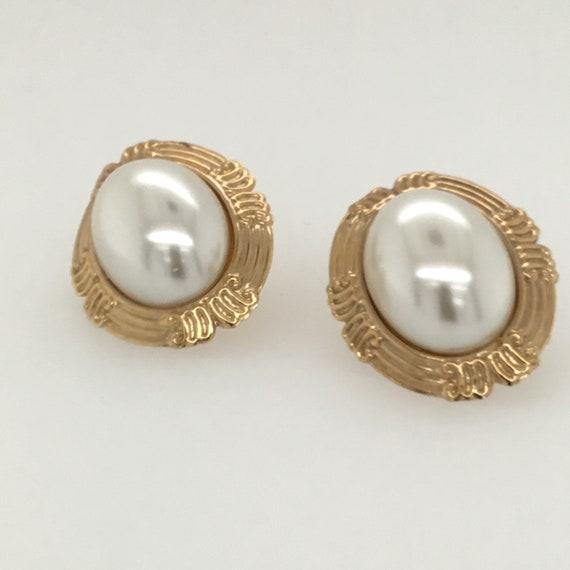 Large oval pearl earrings, stud pearl earrings, ar