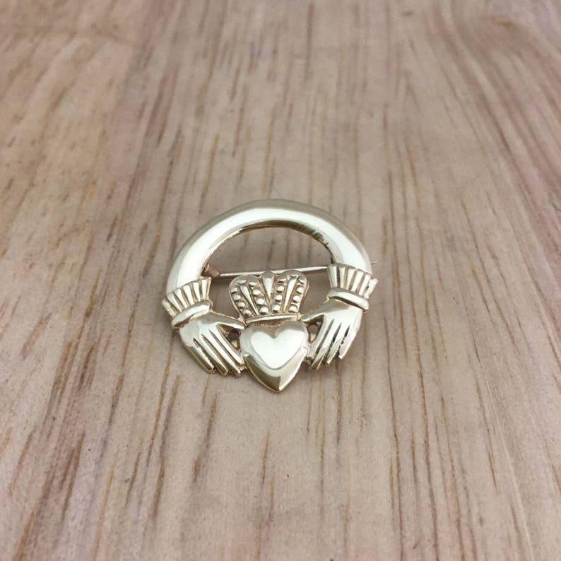 Claddagh brooch,Irish brooch,Gold claddagh brooch,gold Irish brooch,vintage Irish brooch,Celtic brooch,gold brooch,Friendship brooch