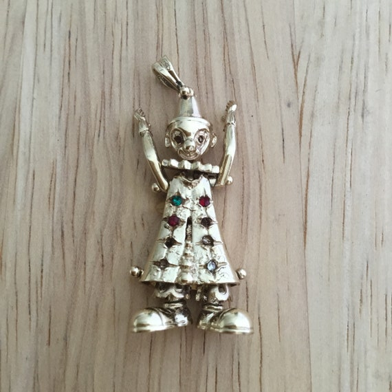 Large gold clown pendant,gold clown pendant,circus