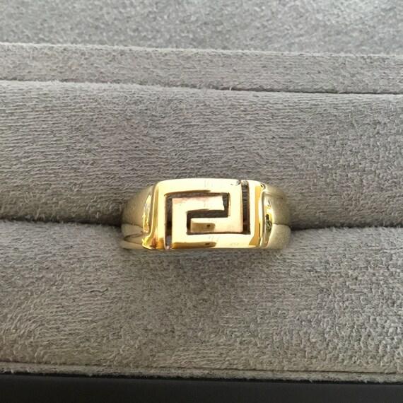Gold Greek ring, vintage Greek ring, gents gold ri