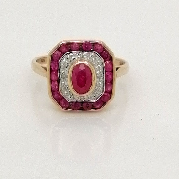 Vintage ruby and diamond ring, Ruby engagement rin
