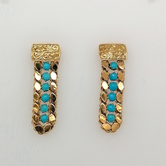 Vintage turquoise drop earrings, turquoise and gol