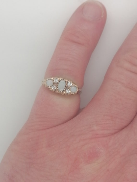 Vintage opal dress ring,opal and diamond ring, opa