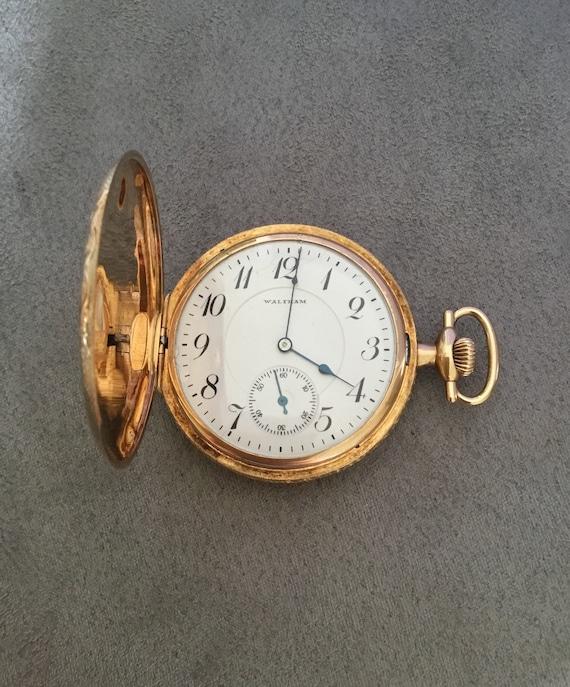 Vintage gold pocket watch,gold Waltham pocket watc