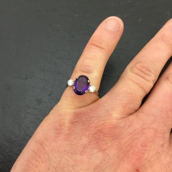 White gold Amethyst and diamond ring,  vintage ame
