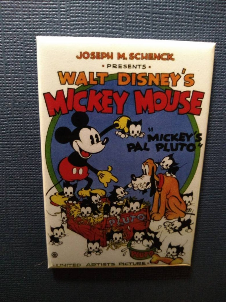 Classic Mickey Mouse and Pluto cartoon Refrigerator Fridge Magnet 2 x 3 inch