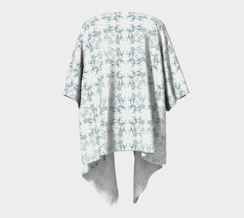 Lacy Green Leaves Draped Kimono