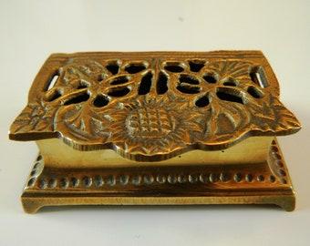 Art Nouveau Brass Stamp Box