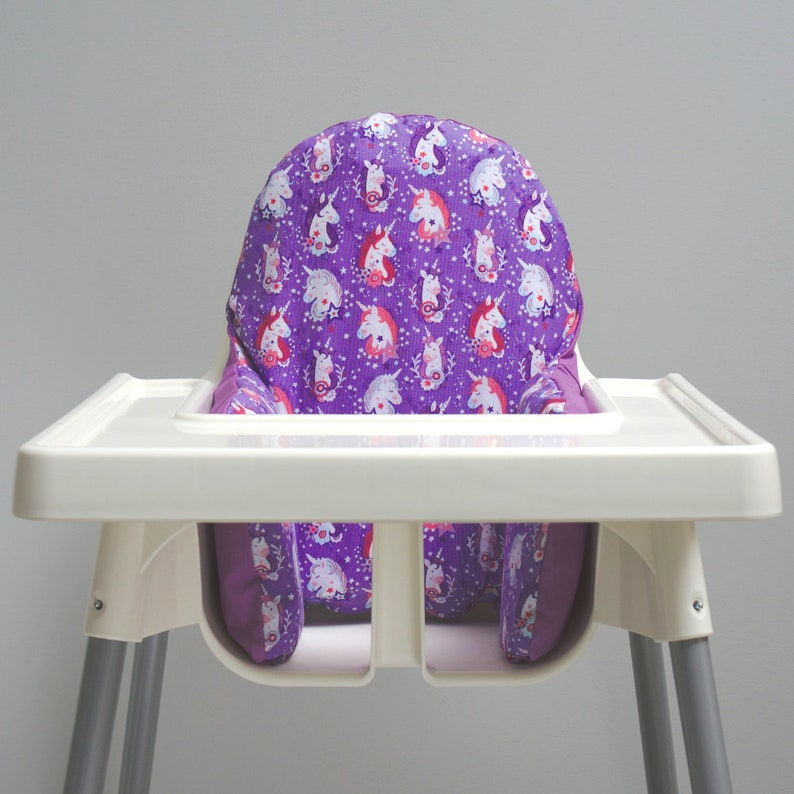 Purple Unicorns IKEA High Chair Cushion Cover image 0