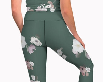 03f91a23f1f239 Olive green floral yoga pants, high waisted womens workout leggings. Long yoga  leggings. Ethical clothes, printed high rise active wear.