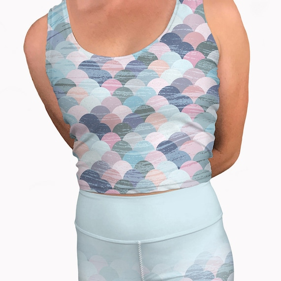 7f29da6c3c133 Pastel mermaid printed yoga crop tank top. Womens workout tank