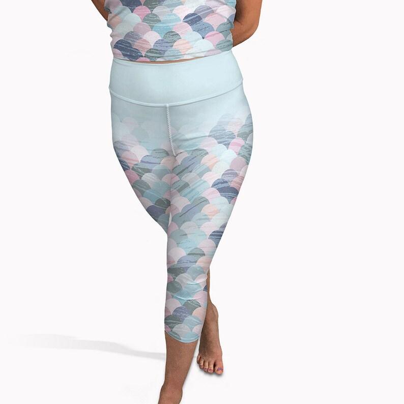 81b482f4c2ad Pastel mermaid yoga capris High waisted summer leggings