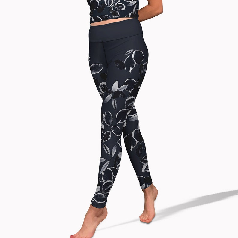 95a3c4132f Navy and white leaf print yoga pants. High waisted womens | Etsy