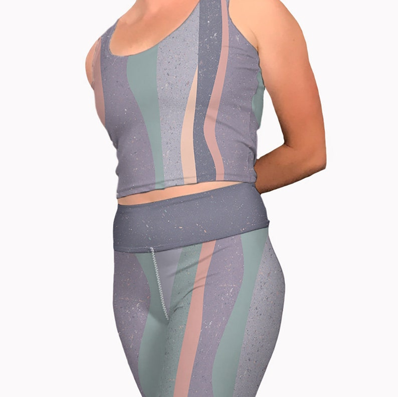 5acf524ac398e Pastel striped yoga crop tank top. Womens workout tank top