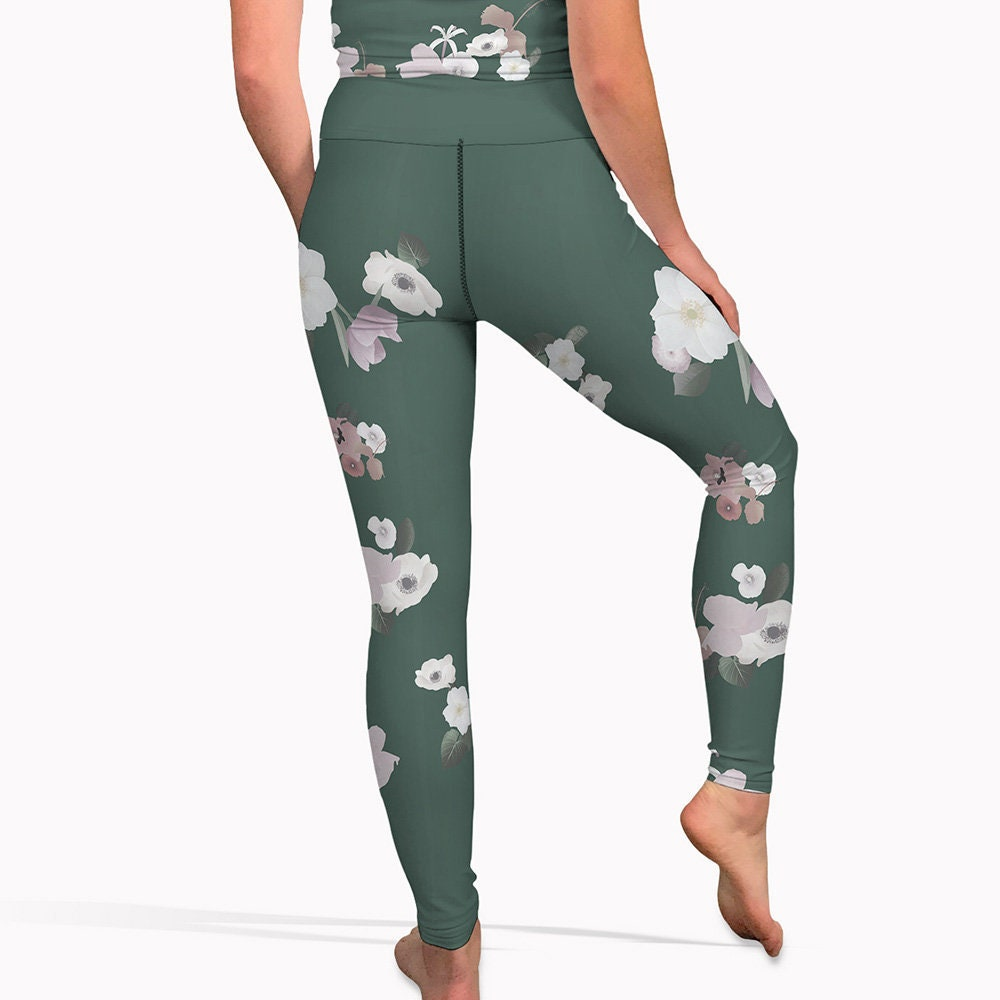size 40 74082 87ab5 Olive green floral yoga pants high waisted womens workout   Etsy