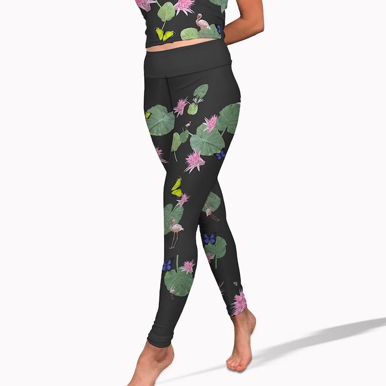ae6f4b6144d Black tropical print yoga pants high waisted womens workout