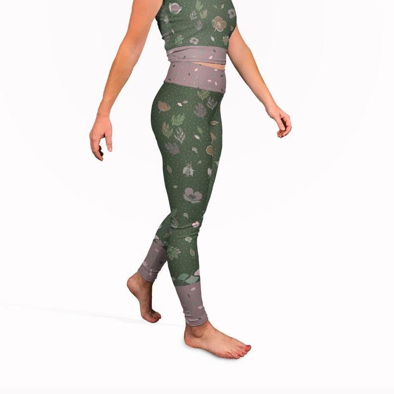 e79d061b3d Olive green batik yoga pants long yoga leggings. High waisted | Etsy