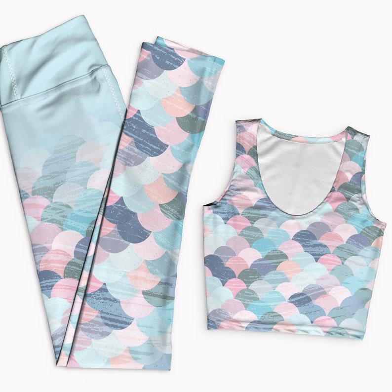 0edf7e63b8d59 Pink and blue mermaid yoga outfit. Tank top & yoga leggings | Etsy