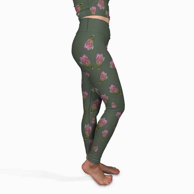 b6bd55af64 Olive yoga pants flower print long yoga leggings. High | Etsy