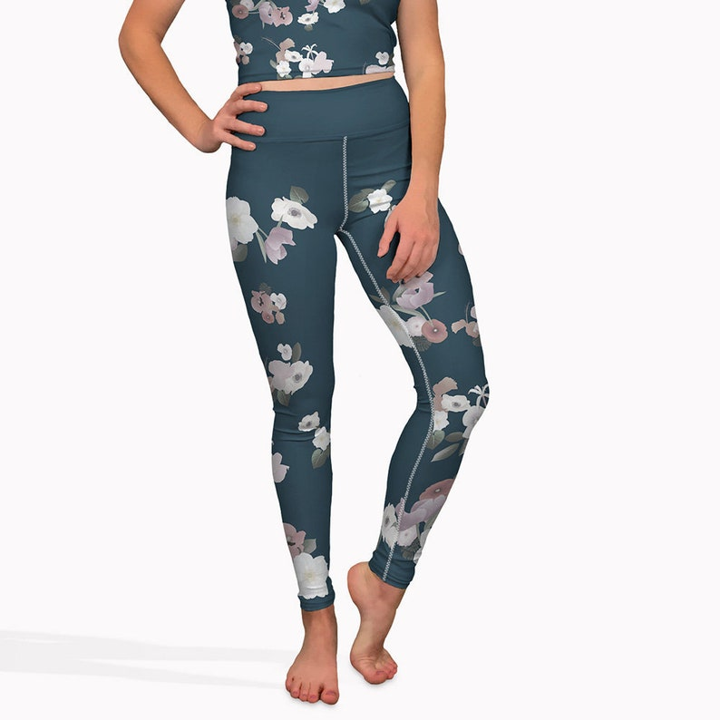 31faee1622e65 Navy blue floral yoga pants high waisted womens workout | Etsy
