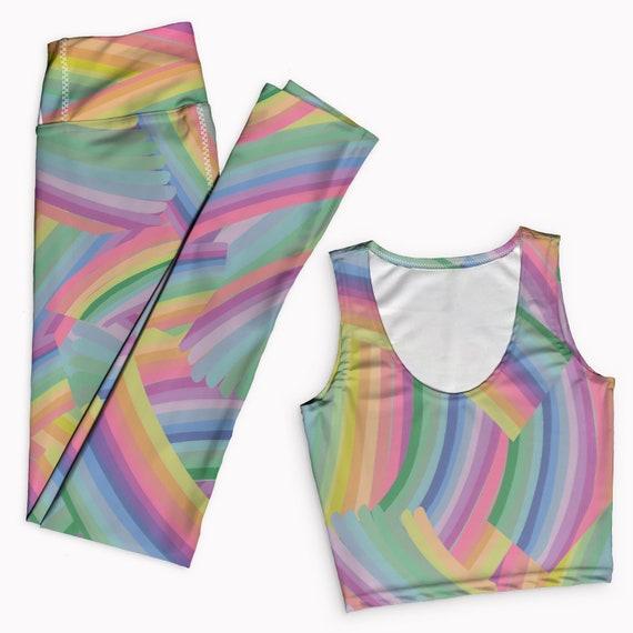 81f3763a71f31c Rainbow print yoga outfit. Tank top   yoga leggings set. Comfy