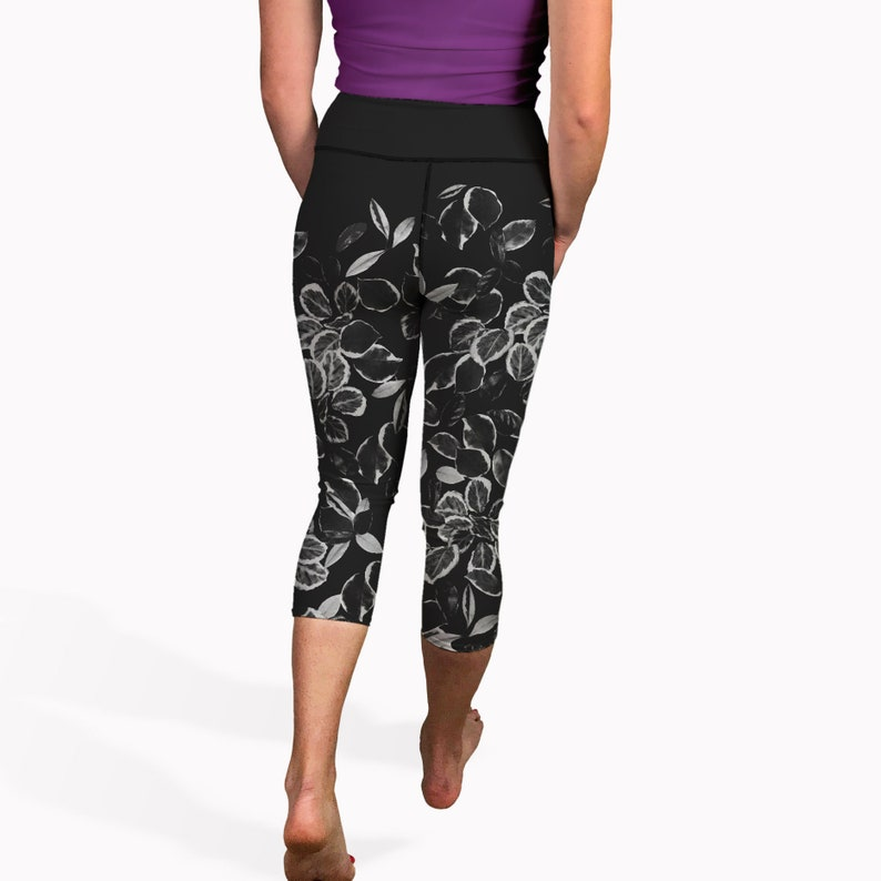 f17eeda9d97ffe High waisted summer yoga capris with black and white leaf | Etsy