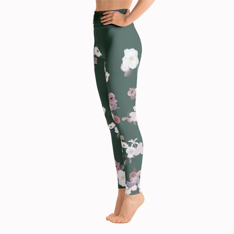 1afddd71a1dfd1 Olive green floral yoga pants high waisted womens workout | Etsy