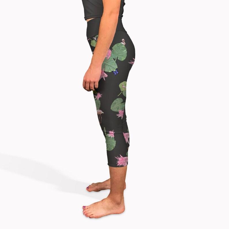 6a465b5171 Black tropical yoga capris. High waisted short yoga pants | Etsy