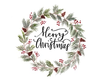 Merry Christmas, Christmas card, Christmas wreath, holiday card