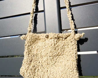 Hand knitted little bag ECRU ideal holiday parties
