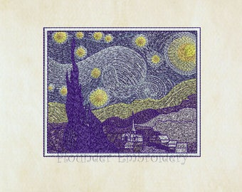 The Starry Night Design Embroidery 4 Size Embroidery Designs INSTANT DOWNLOAD