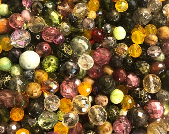Czech Glass Beads 1lb Bag Of Assorted Shapes And Sizes Forest Mix