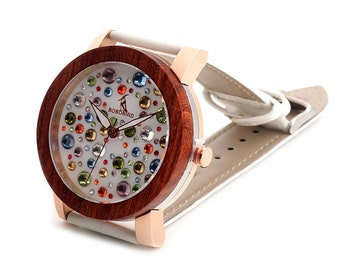 Woman's jeweled wooden watch