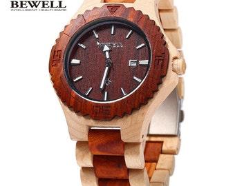 Men's Maple & Walnut Wood Quartz Watch With Calendar Display