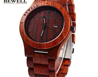 Men's Rosewood Quartz Watch With Calendar Display
