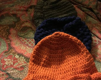 Crochet hats made by Blackpearl.