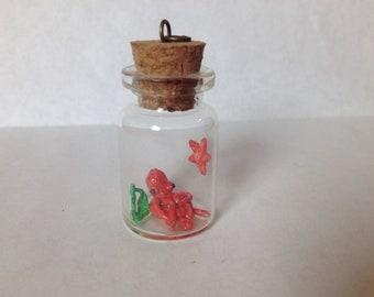 Octopus in a bottle pet kraken necklace charm