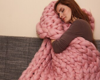 Chunky Knit Blanket, Blanket, Super Chunky Blanket, Giant knit blanket, Thick yarn blanket, Bulky Knit, Merino wool, Extreme knitting