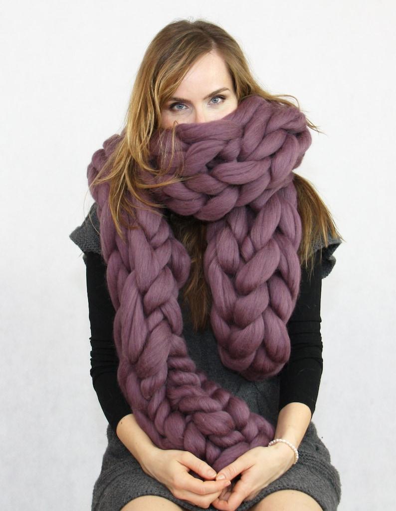Chunky Knit Scarf Crochet Oversized Scarf Wool Scarf image 1