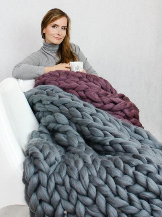 Boho Home decor Chunky yarn Christmas present gift Giant throw Merino wool Knit blanket Thick yarn Arm knitting Chunky knit blanket