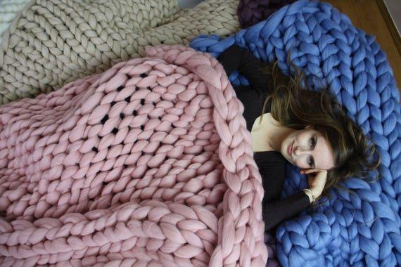 Chunky Knit Blanket Blanket Super Chunky Blanket Giant Knit Etsy