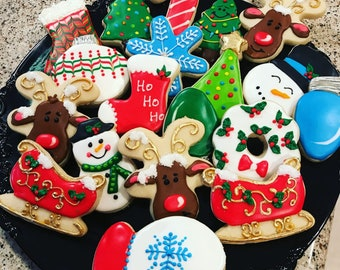 christmas cookies custom decorated christmas cookies sugar cookies decorated sugar cookies one dozen