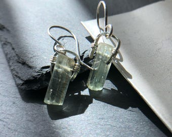 Sterling silver aquamarine gemstone earrings
