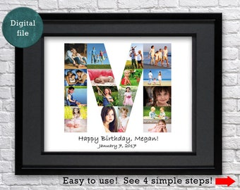 letter photo collage gift for aunt any letter gift for cousin letter collage gift for uncle letter photo collage gift for nephew letter