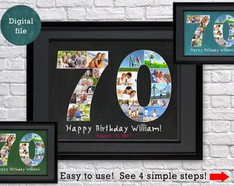 Custom 70th Birthday Gift For Dad Photo Collage Grandma Chalkboard Grandmother Grandfather