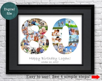 80th Birthday Gift Decorations Great Grandma For Grandpa Grandfather Photo Collage