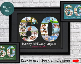 Personalized 60th Birthday Gift Photo Collage Anniversary For Man Husband Chalkboard