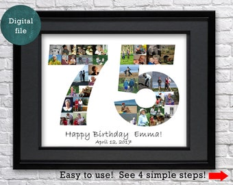 75th Birthday Gift For Mom Personalized Photo Collage Him Man Grandma Grandmother