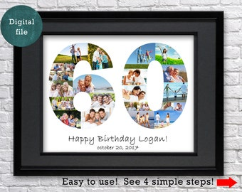 60th Birthday Gift Photo Collage Anniversary Gifts For Women Aunt Decoration 60